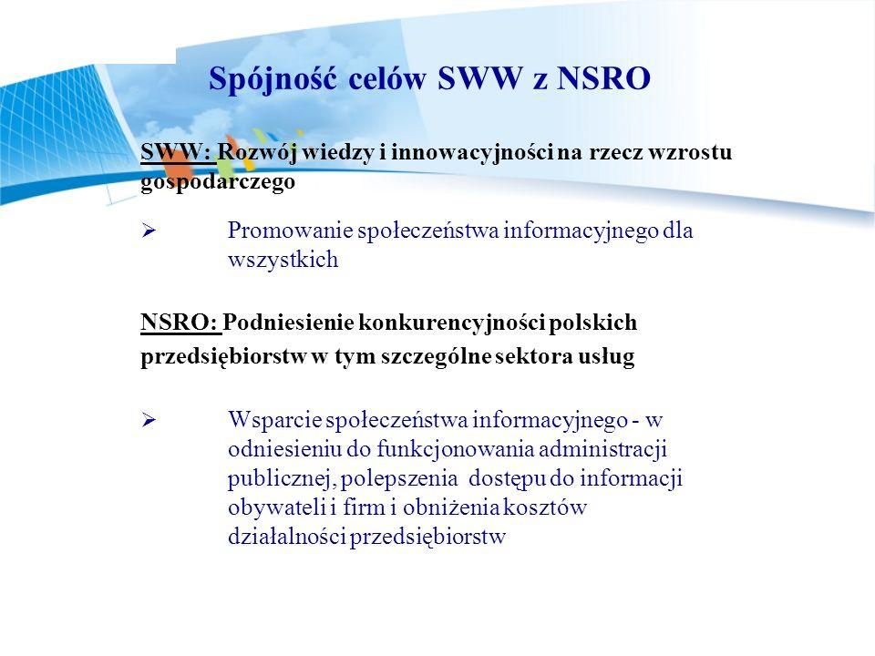 Spójność celów SWW z NSRO SWW: Rozwój wiedzy i innowacyjności na rzecz wzrostu gospodarczego Promowanie społeczeństwa informacyjnego dla wszystkich NS
