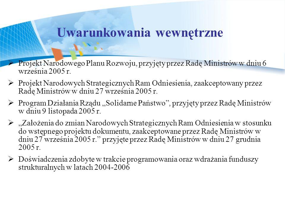 Projekt Narodowego Planu Rozwoju, przyjęty przez Radę Ministrów w dniu 6 września 2005 r. Projekt Narodowych Strategicznych Ram Odniesienia, zaakcepto