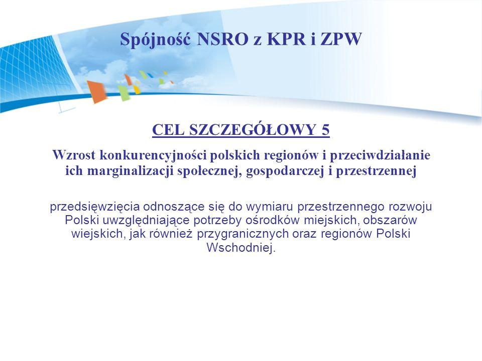 Spójność NSRO z KPR i ZPW CEL SZCZEGÓŁOWY 5 Wzrost konkurencyjności polskich regionów i przeciwdziałanie ich marginalizacji społecznej, gospodarczej i