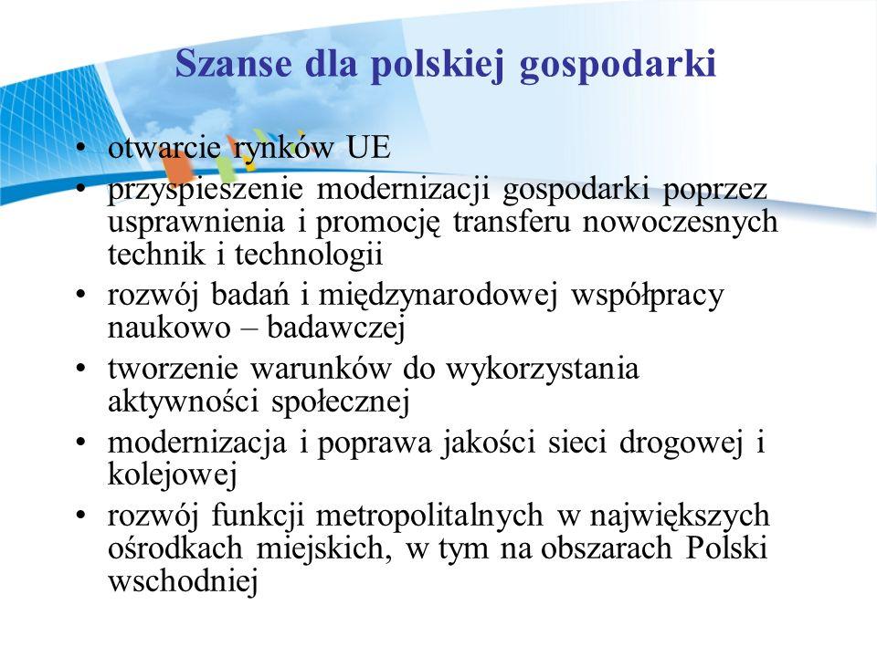 Szanse dla polskiej gospodarki otwarcie rynków UE przyspieszenie modernizacji gospodarki poprzez usprawnienia i promocję transferu nowoczesnych techni