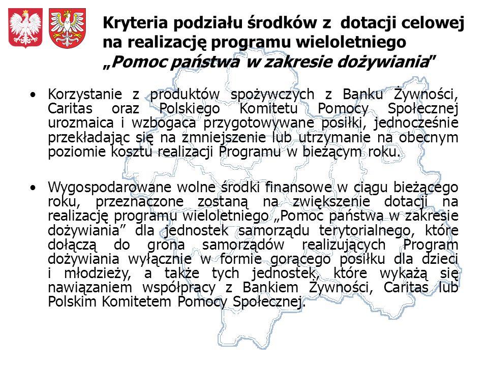 Korzystanie z produktów spożywczych z Banku Żywności, Caritas oraz Polskiego Komitetu Pomocy Społecznej urozmaica i wzbogaca przygotowywane posiłki, jednocześnie przekładając się na zmniejszenie lub utrzymanie na obecnym poziomie kosztu realizacji Programu w bieżącym roku.