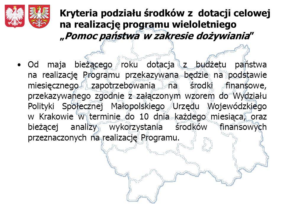 Od maja bieżącego roku dotacja z budżetu państwa na realizację Programu przekazywana będzie na podstawie miesięcznego zapotrzebowania na środki finansowe, przekazywanego zgodnie z załączonym wzorem do Wydziału Polityki Społecznej Małopolskiego Urzędu Wojewódzkiego w Krakowie w terminie do 10 dnia każdego miesiąca, oraz bieżącej analizy wykorzystania środków finansowych przeznaczonych na realizację Programu.