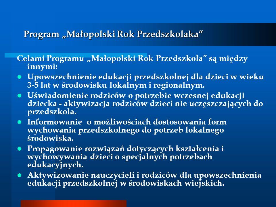 Celami Programu Małopolski Rok Przedszkola są między innymi: Upowszechnienie edukacji przedszkolnej dla dzieci w wieku 3-5 lat w środowisku lokalnym i