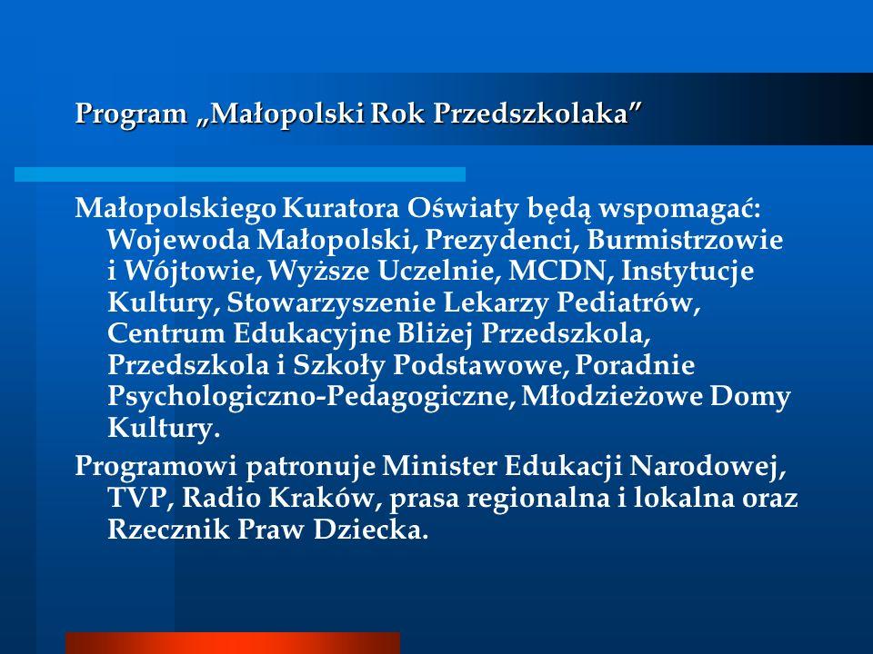 Program Małopolski Rok Przedszkolaka Małopolskiego Kuratora Oświaty będą wspomagać: Wojewoda Małopolski, Prezydenci, Burmistrzowie i Wójtowie, Wyższe
