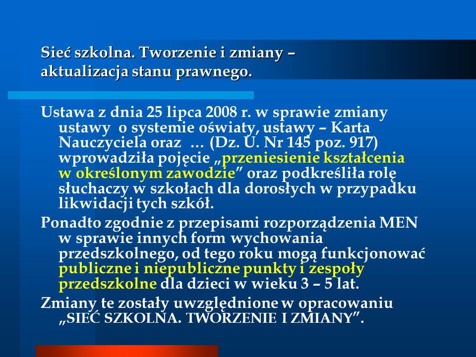 Sieć szkolna. Tworzenie i zmiany – aktualizacja stanu prawnego. Ustawa z dnia 25 lipca 2008 r. w sprawie zmiany ustawy o systemie oświaty, ustawy – Ka