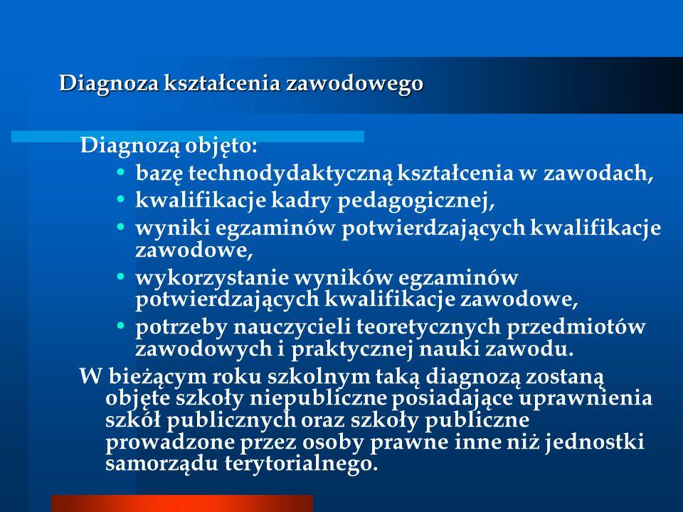 Diagnoza kształcenia zawodowego Diagnozą objęto: bazę technodydaktyczną kształcenia w zawodach, kwalifikacje kadry pedagogicznej, wyniki egzaminów pot