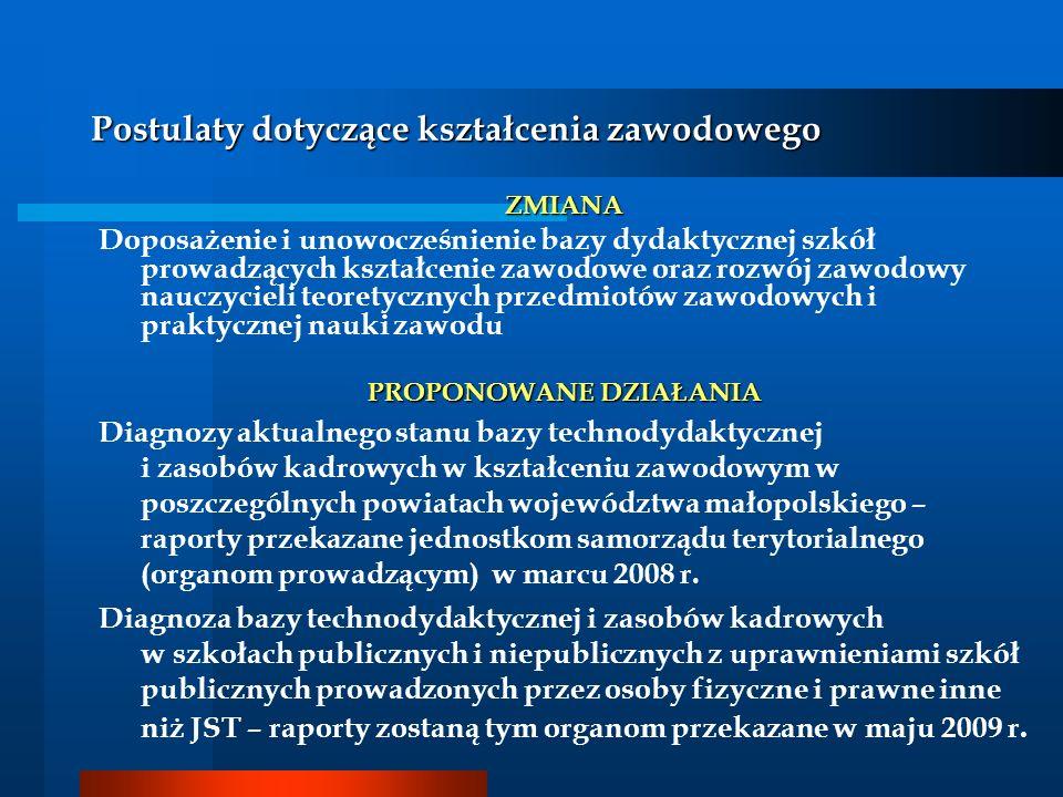 Postulaty dotyczące kształcenia zawodowego ZMIANA Doposażenie i unowocześnienie bazy dydaktycznej szkół prowadzących kształcenie zawodowe oraz rozwój