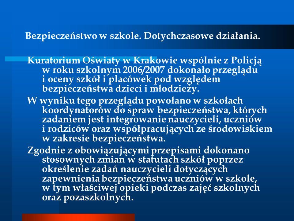 Bezpieczeństwo w szkole. Dotychczasowe działania. Kuratorium Oświaty w Krakowie wspólnie z Policją w roku szkolnym 2006/2007 dokonało przeglądu i ocen