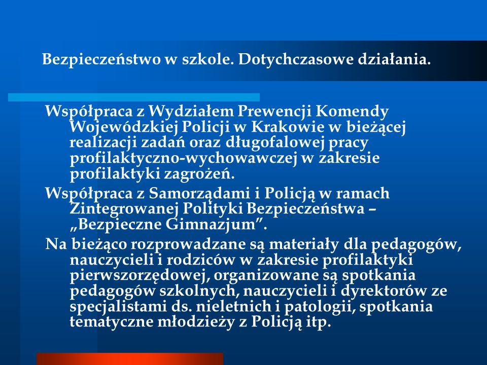 Bezpieczeństwo w szkole. Dotychczasowe działania. Współpraca z Wydziałem Prewencji Komendy Wojewódzkiej Policji w Krakowie w bieżącej realizacji zadań