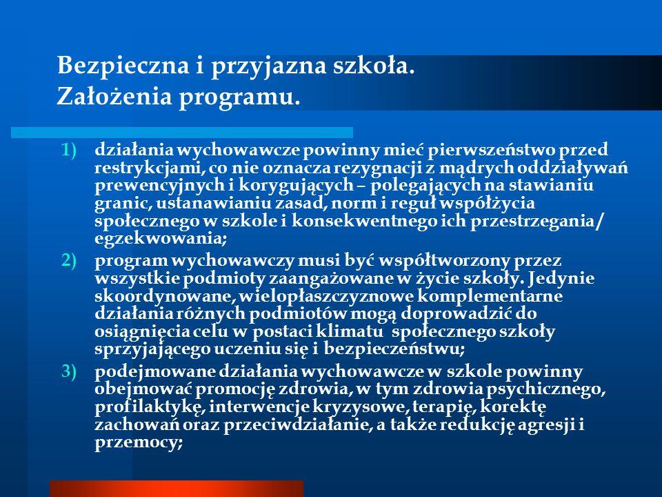 Bezpieczna i przyjazna szkoła. Założenia programu. 1)działania wychowawcze powinny mieć pierwszeństwo przed restrykcjami, co nie oznacza rezygnacji z