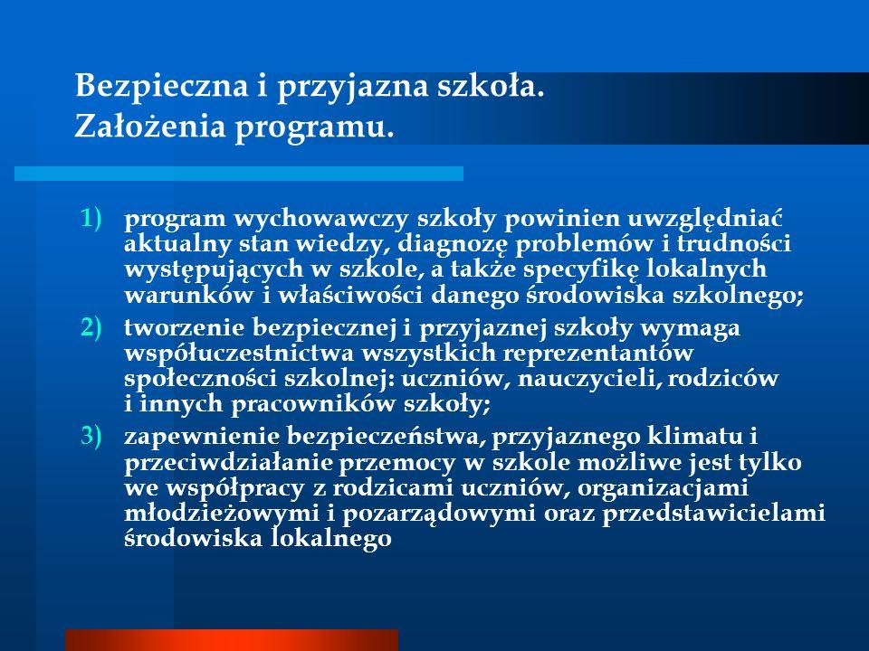 Bezpieczna i przyjazna szkoła. Założenia programu. 1)program wychowawczy szkoły powinien uwzględniać aktualny stan wiedzy, diagnozę problemów i trudno