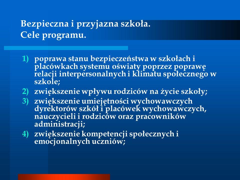 Bezpieczna i przyjazna szkoła. Cele programu. 1)poprawa stanu bezpieczeństwa w szkołach i placówkach systemu oświaty poprzez poprawę relacji interpers