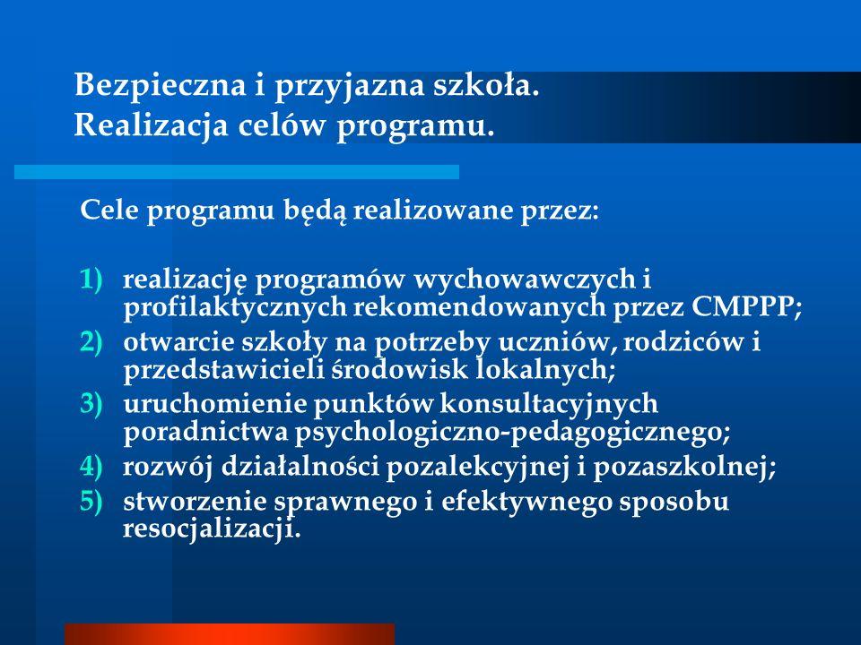 Bezpieczna i przyjazna szkoła. Realizacja celów programu. Cele programu będą realizowane przez: 1)realizację programów wychowawczych i profilaktycznyc