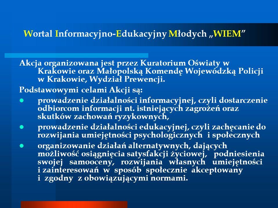 Wortal Informacyjno-Edukacyjny Młodych WIEM Akcja organizowana jest przez Kuratorium Oświaty w Krakowie oraz Małopolską Komendę Wojewódzką Policji w K