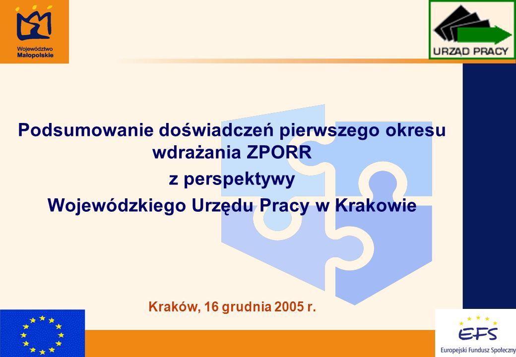 1 Podsumowanie doświadczeń pierwszego okresu wdrażania ZPORR z perspektywy Wojewódzkiego Urzędu Pracy w Krakowie Kraków, 16 grudnia 2005 r.