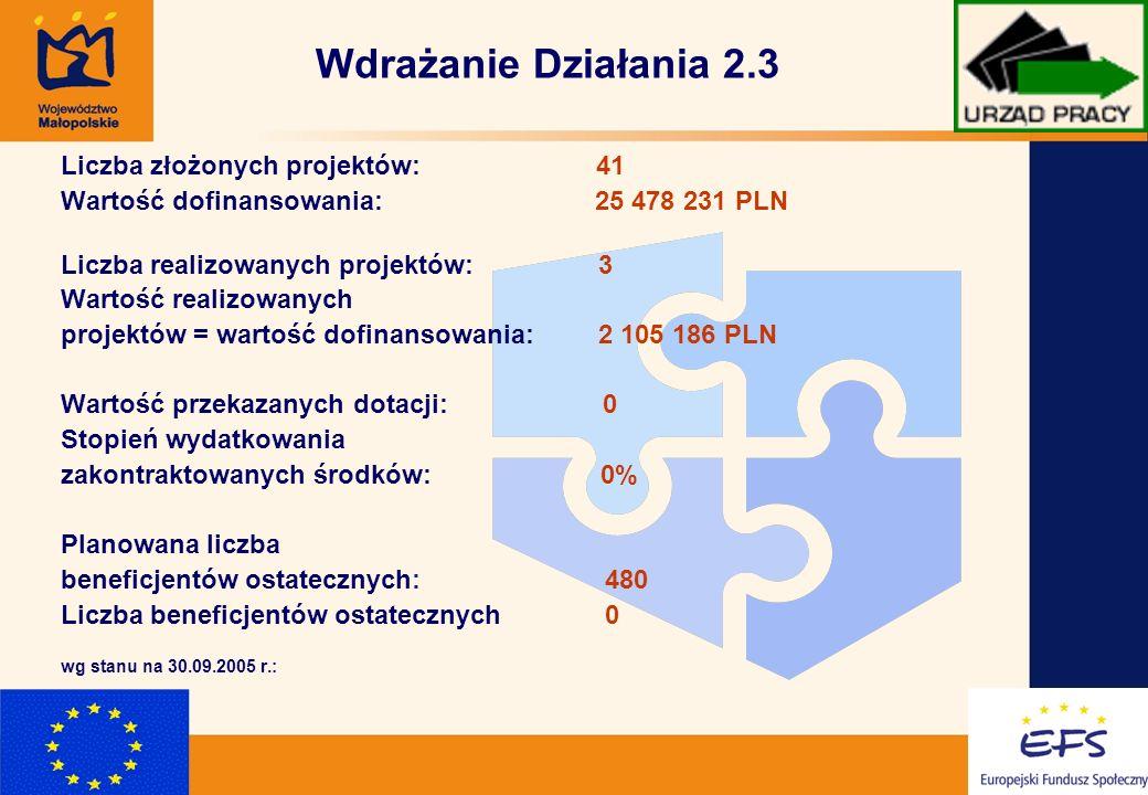 10 Wdrażanie Działania 2.3 Liczba złożonych projektów: 41 Wartość dofinansowania: 25 478 231 PLN Liczba realizowanych projektów: 3 Wartość realizowanych projektów = wartość dofinansowania: 2 105 186 PLN Wartość przekazanych dotacji: 0 Stopień wydatkowania zakontraktowanych środków: 0% Planowana liczba beneficjentów ostatecznych: 480 Liczba beneficjentów ostatecznych 0 wg stanu na 30.09.2005 r.: