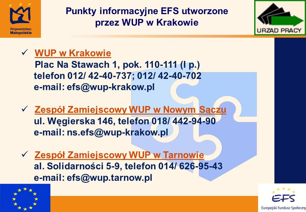 14 Punkty informacyjne EFS utworzone przez WUP w Krakowie WUP w Krakowie Plac Na Stawach 1, pok.