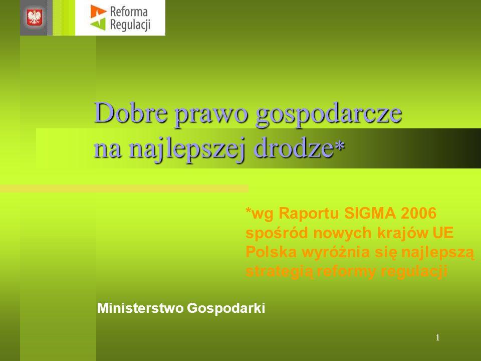 1 Dobre prawo gospodarcze na najlepszej drodze * Ministerstwo Gospodarki *wg Raportu SIGMA 2006 spośród nowych krajów UE Polska wyróżnia się najlepszą strategią reformy regulacji
