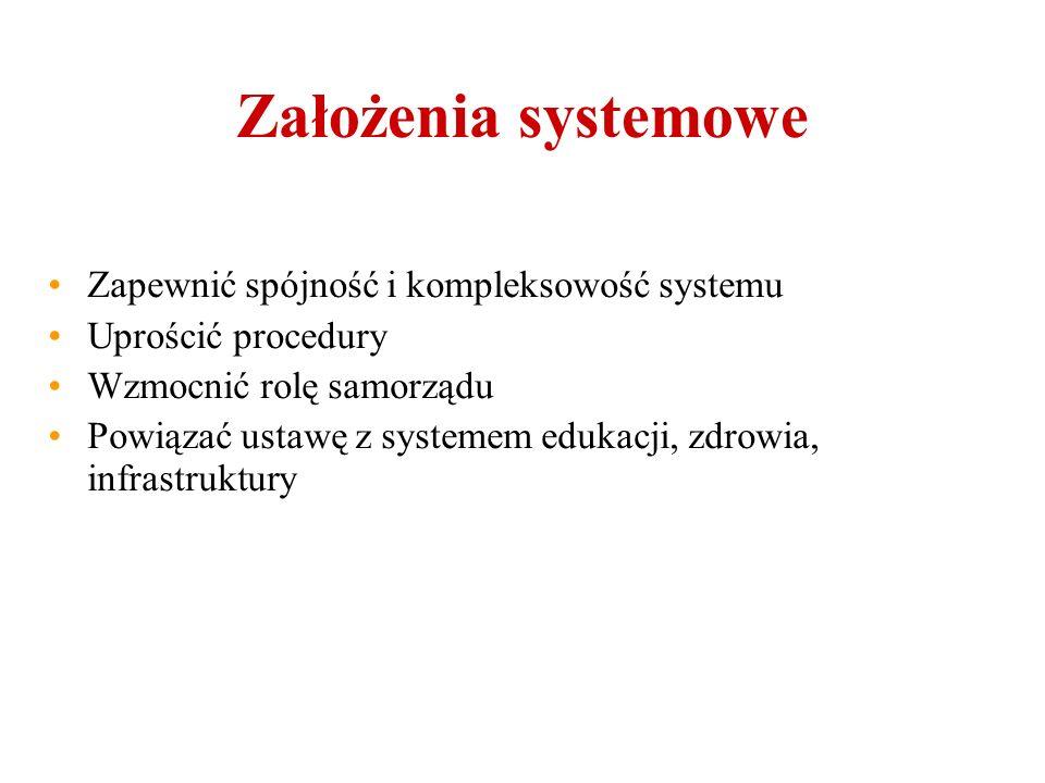 Założenia systemowe Zapewnić spójność i kompleksowość systemu Uprościć procedury Wzmocnić rolę samorządu Powiązać ustawę z systemem edukacji, zdrowia, infrastruktury