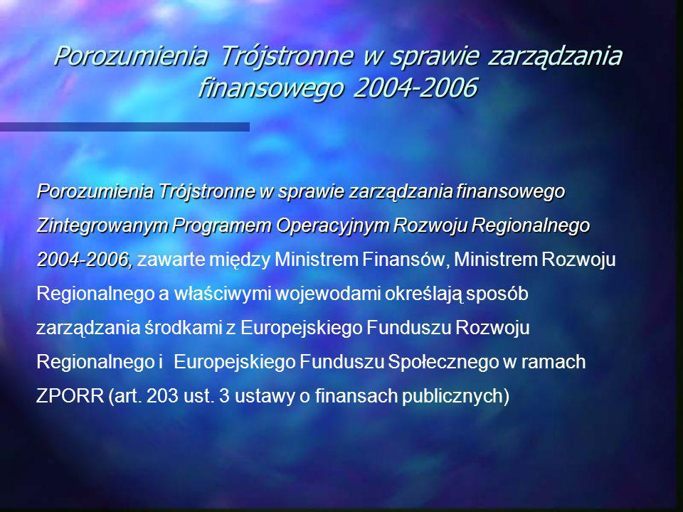 Porozumienia Trójstronne w sprawie zarządzania finansowego 2004-2006 Porozumienia Trójstronne w sprawie zarządzania finansowego Zintegrowanym Programem Operacyjnym Rozwoju Regionalnego 2004-2006, Porozumienia Trójstronne w sprawie zarządzania finansowego Zintegrowanym Programem Operacyjnym Rozwoju Regionalnego 2004-2006, zawarte między Ministrem Finansów, Ministrem Rozwoju Regionalnego a właściwymi wojewodami określają sposób zarządzania środkami z Europejskiego Funduszu Rozwoju Regionalnego i Europejskiego Funduszu Społecznego w ramach ZPORR (art.