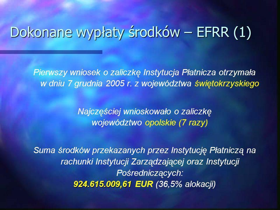 Dokonane wypłaty środków – EFRR (1) Pierwszy wniosek o zaliczkę Instytucja Płatnicza otrzymała w dniu 7 grudnia 2005 r.