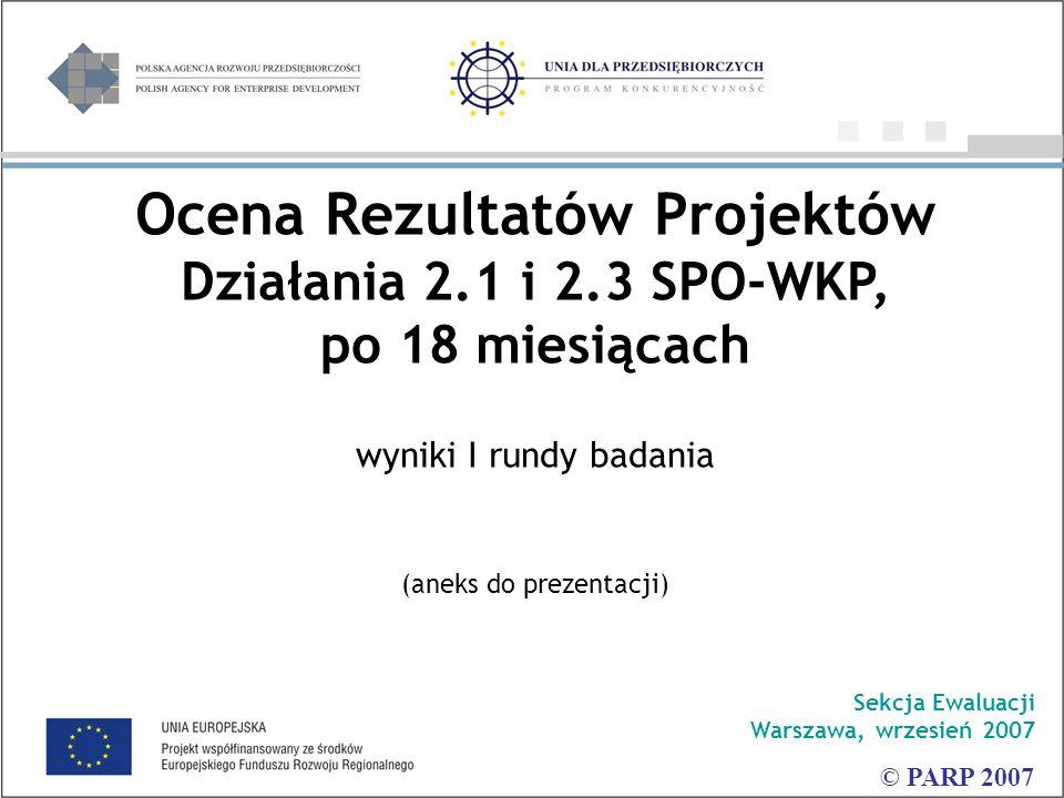 Ocena Rezultatów Projektów Działania 2.1 i 2.3 SPO-WKP, po 18 miesiącach wyniki I rundy badania (aneks do prezentacji) Sekcja Ewaluacji Warszawa, wrzesień 2007 © PARP 2007