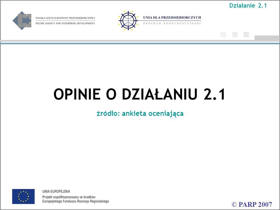 OPINIE O DZIAŁANIU 2.1 źródło: ankieta oceniająca © PARP 2007 Działanie 2.1