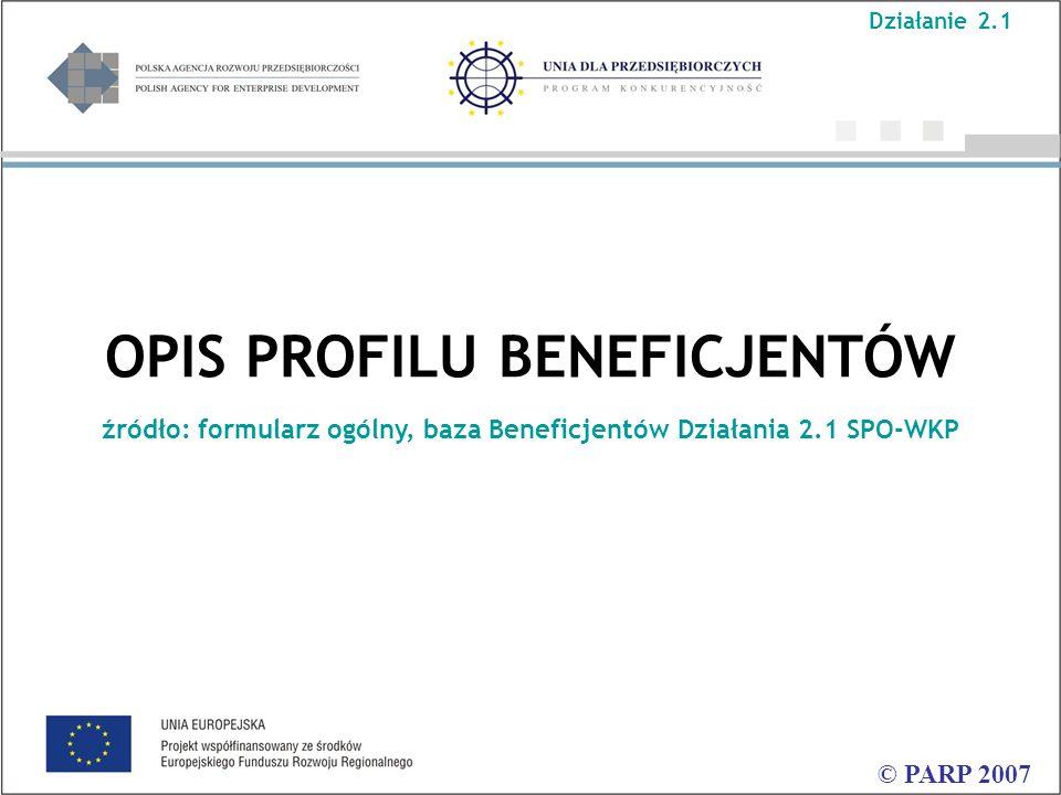 OPIS PROFILU BENEFICJENTÓW źródło: formularz ogólny, baza Beneficjentów Działania 2.1 SPO-WKP © PARP 2007 Działanie 2.1