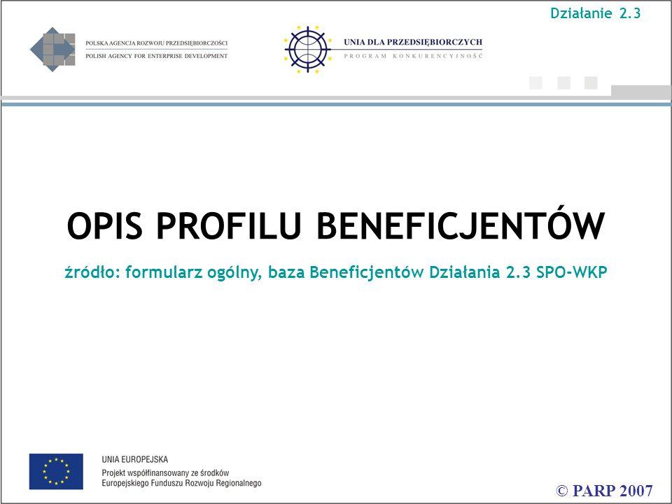 OPIS PROFILU BENEFICJENTÓW źródło: formularz ogólny, baza Beneficjentów Działania 2.3 SPO-WKP © PARP 2007 Działanie 2.3