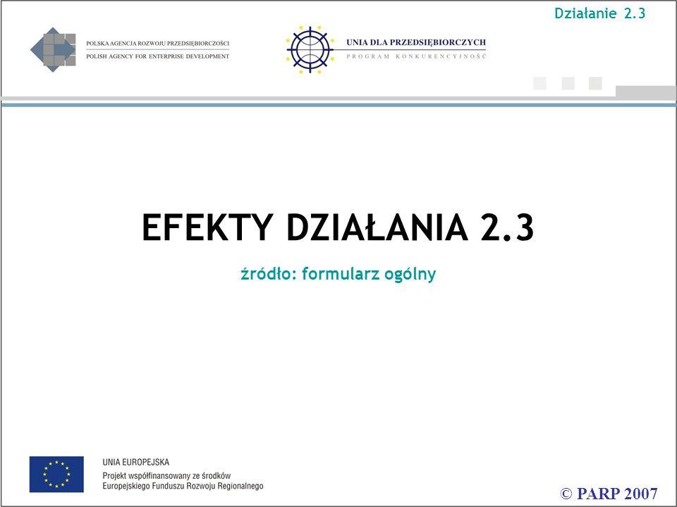 EFEKTY DZIAŁANIA 2.3 źródło: formularz ogólny © PARP 2007 Działanie 2.3