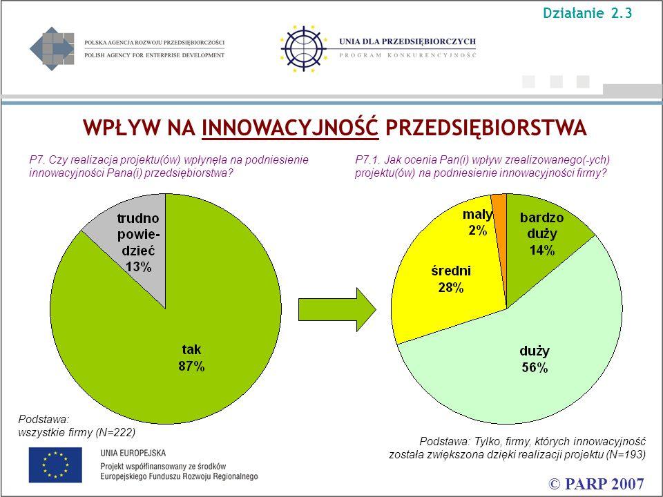 WPŁYW NA INNOWACYJNOŚĆ PRZEDSIĘBIORSTWA © PARP 2007 P7. Czy realizacja projektu(ów) wpłynęła na podniesienie innowacyjności Pana(i) przedsiębiorstwa?