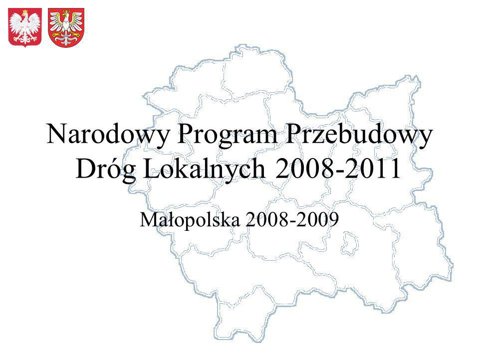 Narodowy Program Przebudowy Dróg Lokalnych 2008-2011 Małopolska 2008-2009