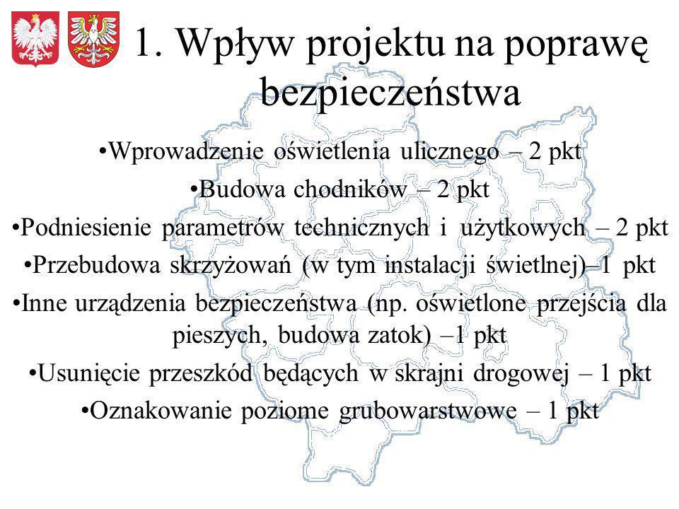 2.Spójność drogi objętej wnioskiem z siecią dróg na obszarze województwa Długość odcinka – 0-3 km – 1 pkt, 3-6 – 2 pkt, pow.