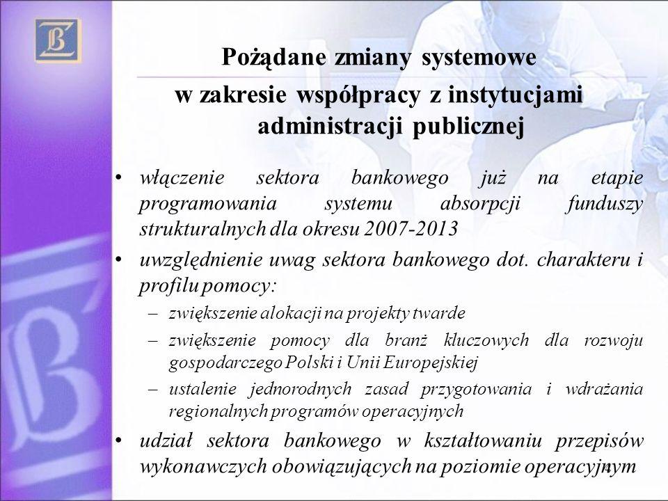 4 Pożądane zmiany systemowe w zakresie współpracy z instytucjami administracji publicznej włączenie sektora bankowego już na etapie programowania systemu absorpcji funduszy strukturalnych dla okresu 2007-2013 uwzględnienie uwag sektora bankowego dot.