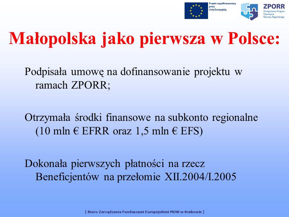 [ Biuro Zarządzania Funduszami Europejskimi MUW w Krakowie ] Małopolska jako pierwsza w Polsce: Podpisała umowę na dofinansowanie projektu w ramach ZP