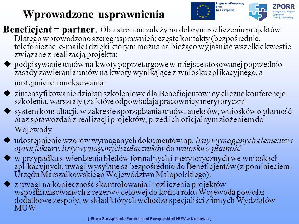 [ Biuro Zarządzania Funduszami Europejskimi MUW w Krakowie ] Wprowadzone usprawnienia Beneficjent = partner. Obu stronom zależy na dobrym rozliczeniu