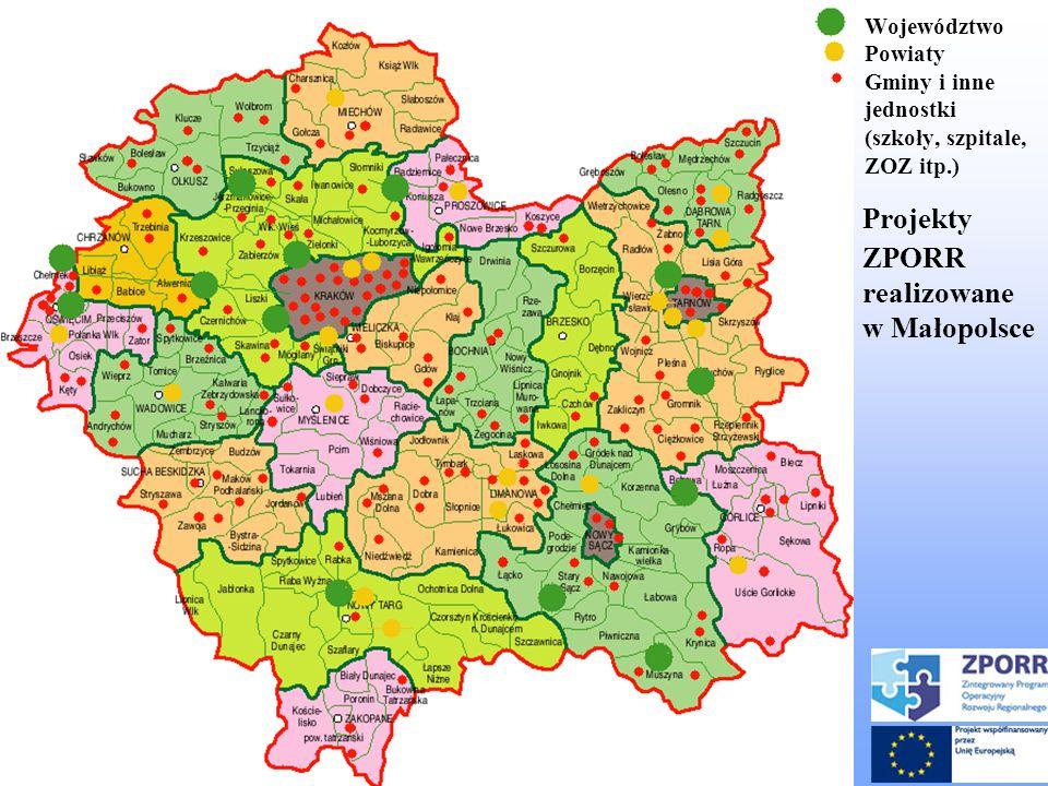 Województwo Powiaty Gminy i inne jednostki (szkoły, szpitale, ZOZ itp.) Projekty ZPORR realizowane w Małopolsce