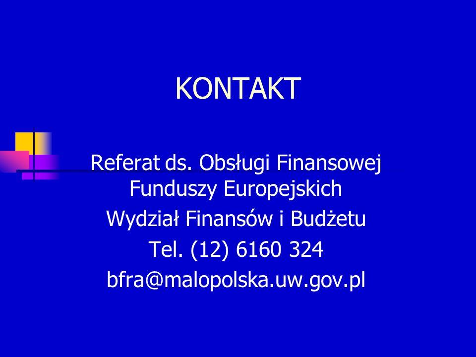 KONTAKT Referat ds.Obsługi Finansowej Funduszy Europejskich Wydział Finansów i Budżetu Tel.