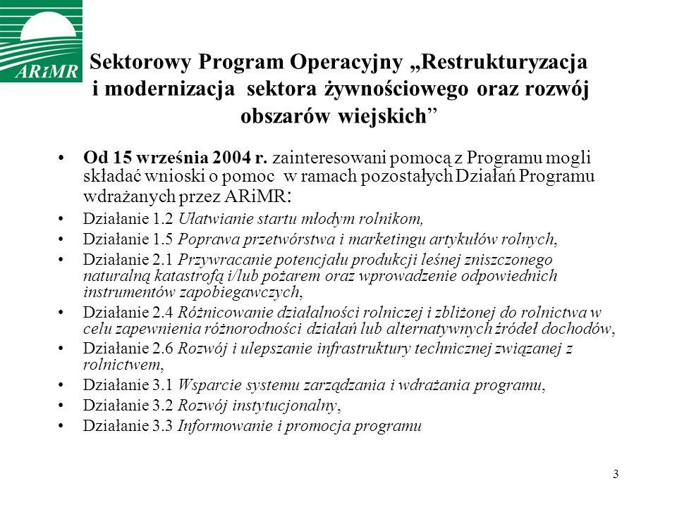 3 Sektorowy Program Operacyjny Restrukturyzacja i modernizacja sektora żywnościowego oraz rozwój obszarów wiejskich Od 15 września 2004 r.