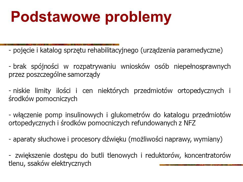 Podstawowe problemy - pojęcie i katalog sprzętu rehabilitacyjnego (urządzenia paramedyczne) - brak spójności w rozpatrywaniu wniosków osób niepełnospr