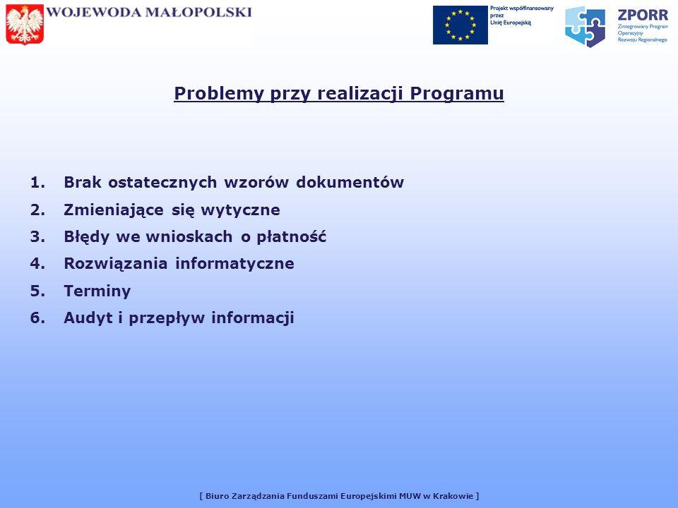 [ Biuro Zarządzania Funduszami Europejskimi MUW w Krakowie ] Problemy przy realizacji Programu 1.Brak ostatecznych wzorów dokumentów 2.Zmieniające się wytyczne 3.Błędy we wnioskach o płatność 4.Rozwiązania informatyczne 5.Terminy 6.Audyt i przepływ informacji