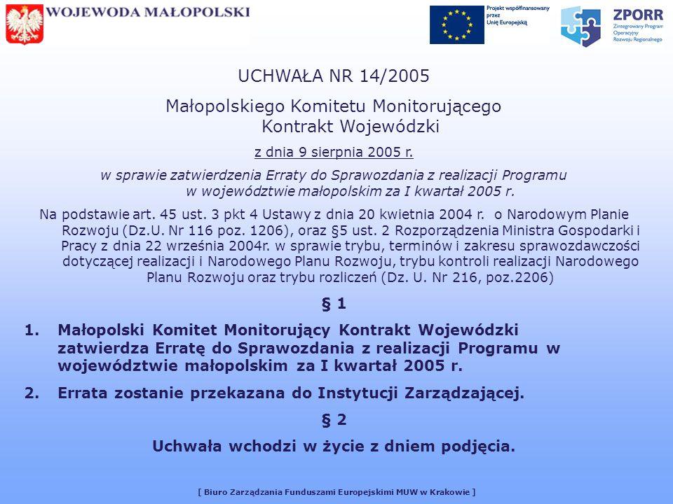 [ Biuro Zarządzania Funduszami Europejskimi MUW w Krakowie ] UCHWAŁA NR 14/2005 Małopolskiego Komitetu Monitorującego Kontrakt Wojewódzki z dnia 9 sierpnia 2005 r.