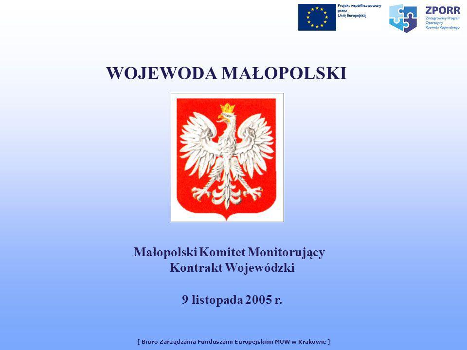 [ Biuro Zarządzania Funduszami Europejskimi MUW w Krakowie ] WOJEWODA MAŁOPOLSKI Małopolski Komitet Monitorujący Kontrakt Wojewódzki 9 listopada 2005 r.