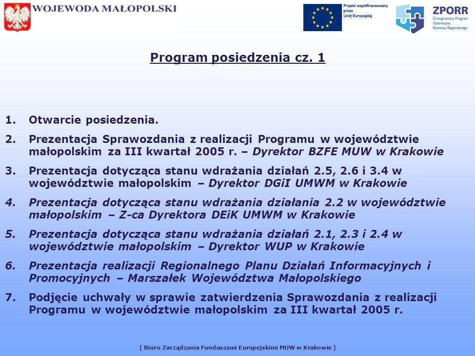 [ Biuro Zarządzania Funduszami Europejskimi MUW w Krakowie ] UCHWAŁA NR 16/2005 Małopolskiego Komitetu Monitorującego Kontrakt Wojewódzki z dnia 9 listopada 2005 r.