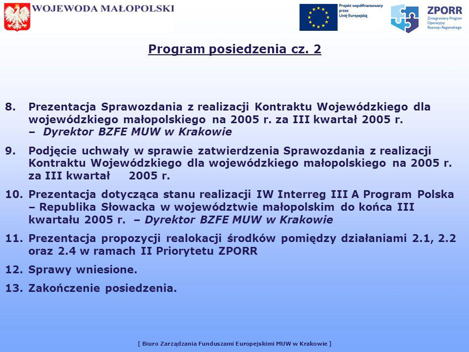 [ Biuro Zarządzania Funduszami Europejskimi MUW w Krakowie ] UCHWAŁA NR 17/2005 Małopolskiego Komitetu Monitorującego Kontrakt Wojewódzki z dnia 9 listopada 2005 r.
