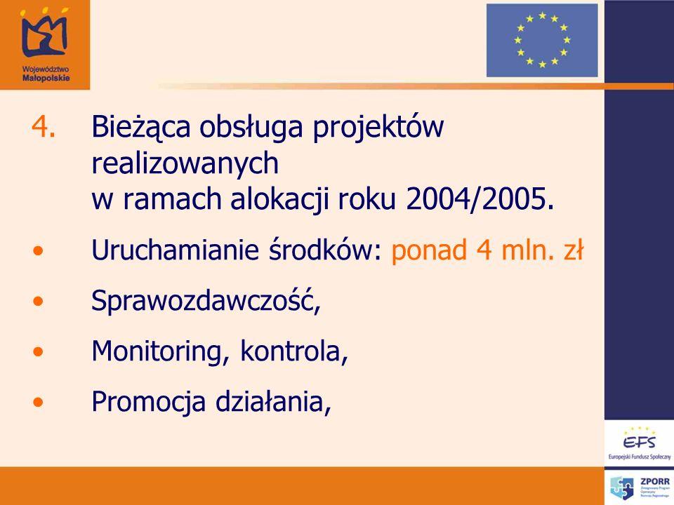 4.Bieżąca obsługa projektów realizowanych w ramach alokacji roku 2004/2005. Uruchamianie środków: ponad 4 mln. zł Sprawozdawczość, Monitoring, kontrol