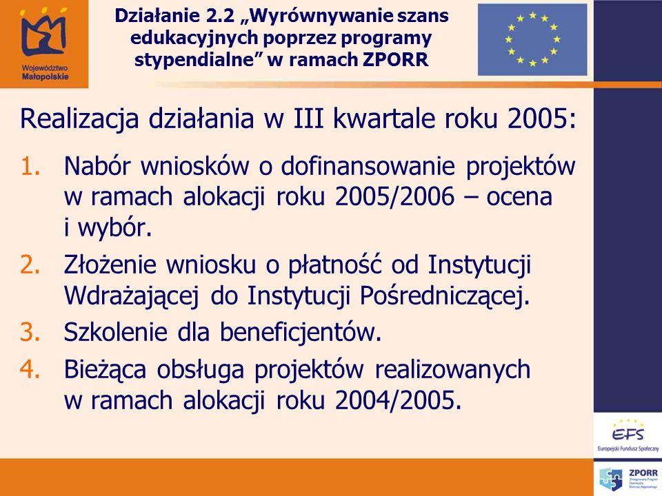 Realizacja działania w III kwartale roku 2005: 1.Nabór wniosków o dofinansowanie projektów w ramach alokacji roku 2005/2006 – ocena i wybór. 2.Złożeni