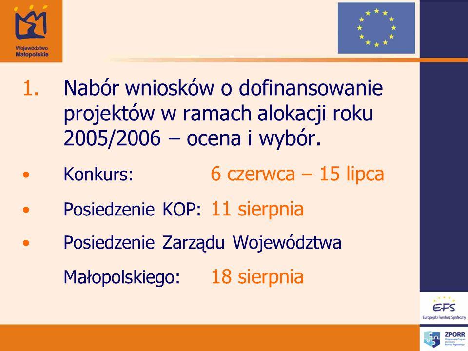 1.Nabór wniosków o dofinansowanie projektów w ramach alokacji roku 2005/2006 – ocena i wybór. Konkurs: 6 czerwca – 15 lipca Posiedzenie KOP: 11 sierpn