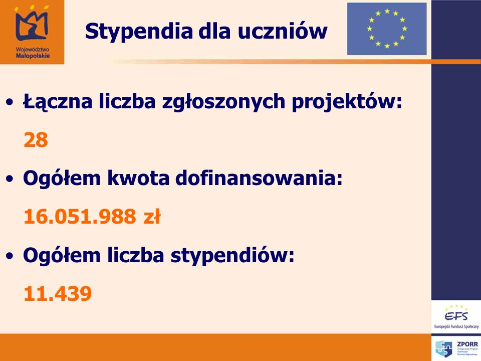 Łączna liczba zgłoszonych projektów: 28 Ogółem kwota dofinansowania: 16.051.988 zł Ogółem liczba stypendiów: 11.439 Stypendia dla uczniów