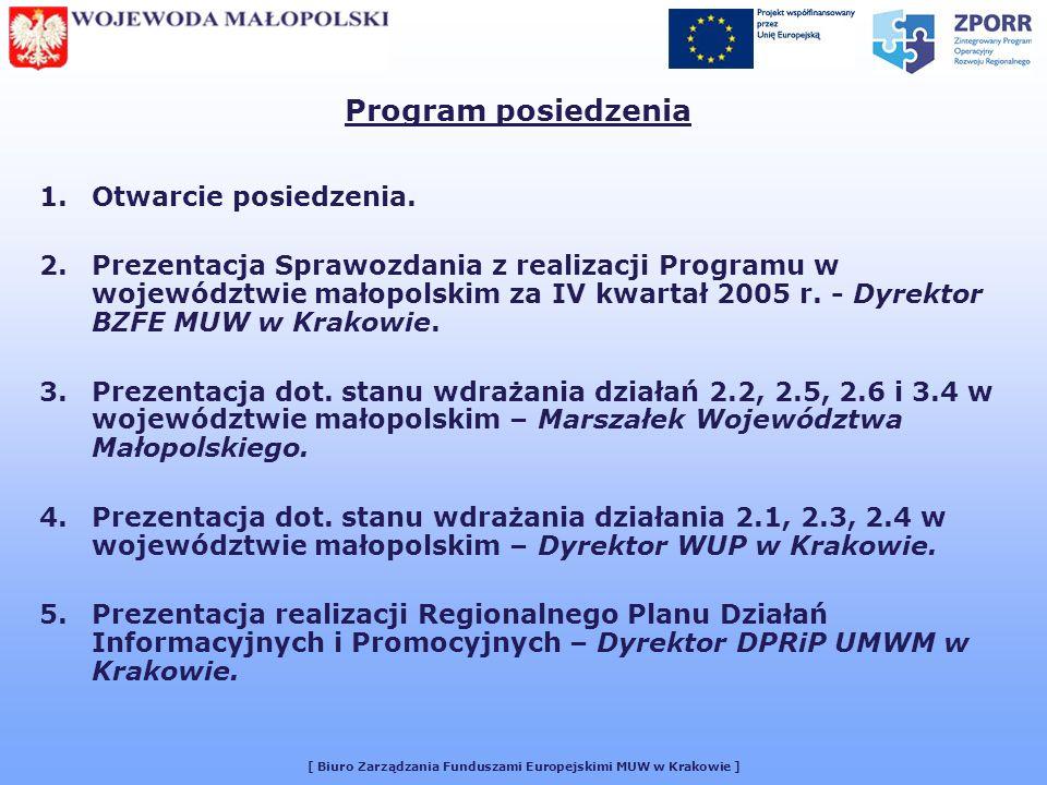 [ Biuro Zarządzania Funduszami Europejskimi MUW w Krakowie ] Program posiedzenia 1.Otwarcie posiedzenia.